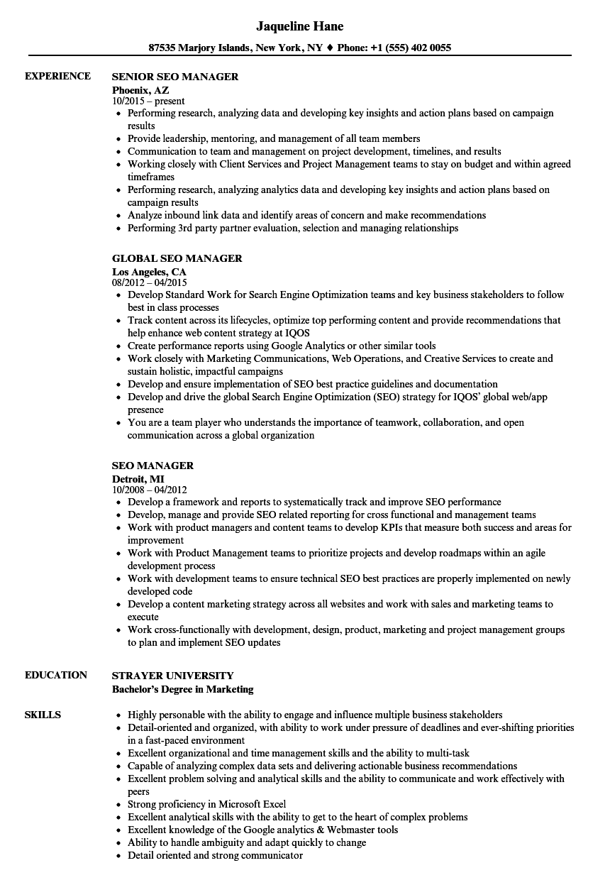 SEO Manager Resume Samples | Velvet Jobs