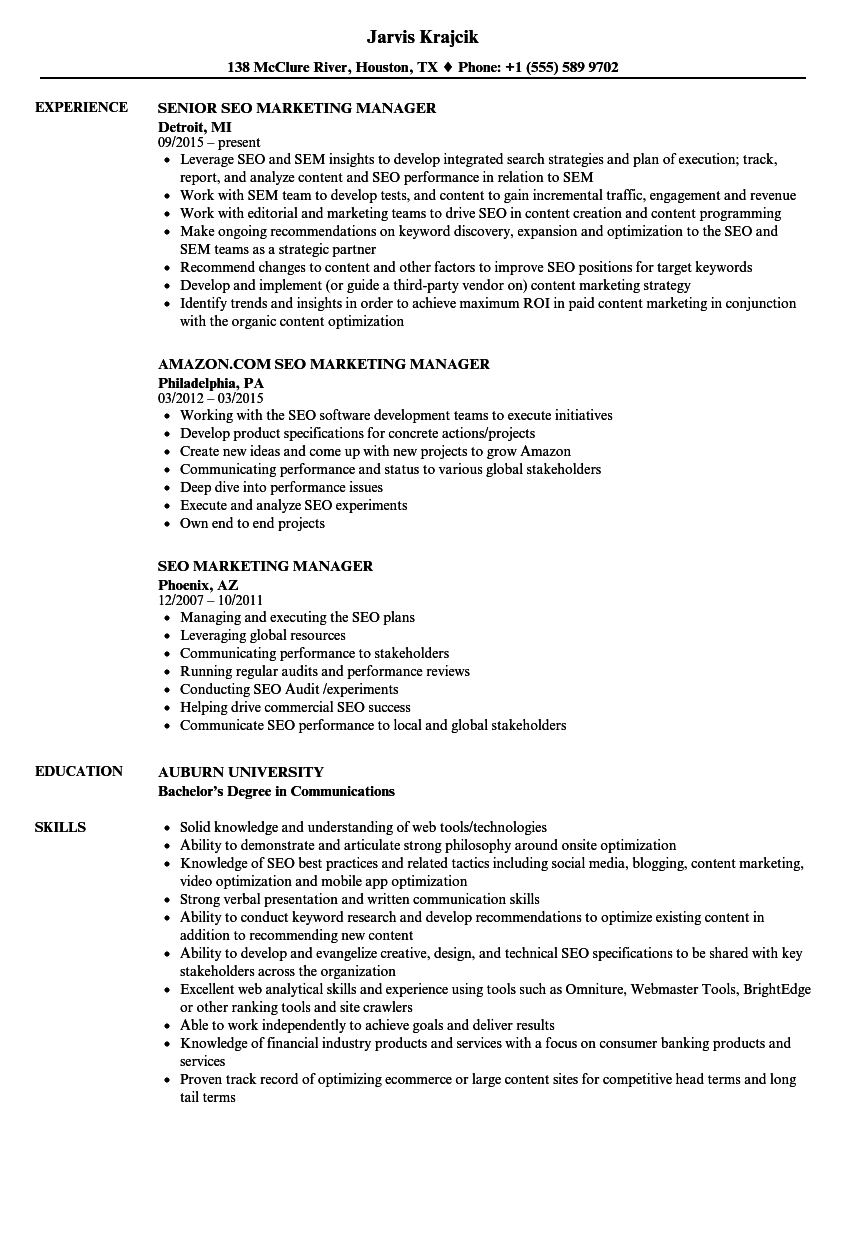 seo marketing manager resume samples velvet jobs
