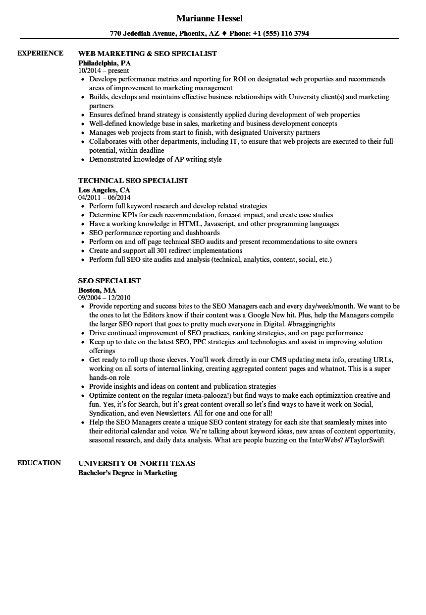 seo specialist resume samples velvet jobs