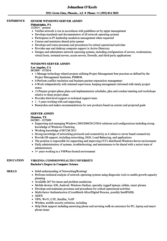 server admin resume samples
