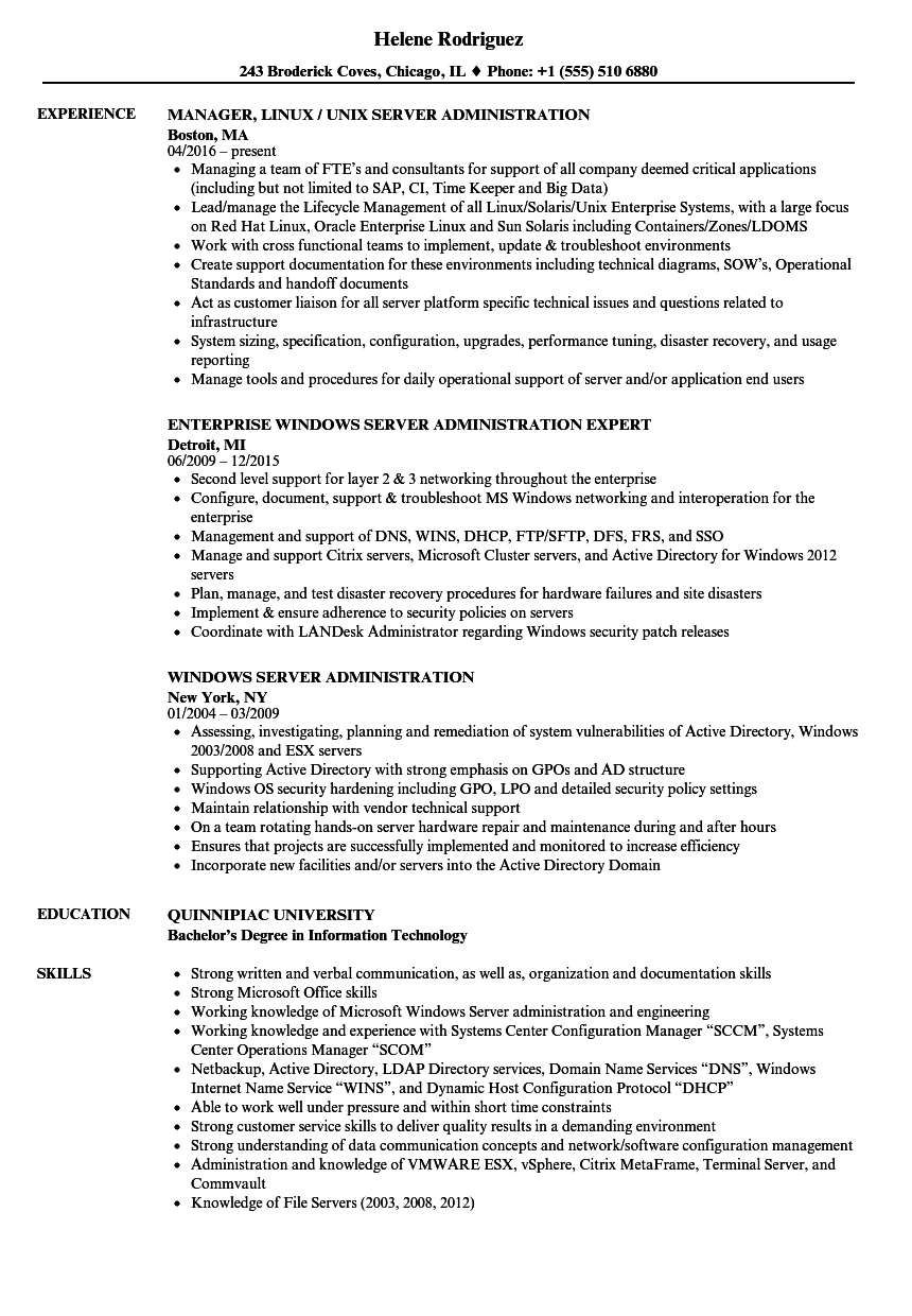 Server Administration Resume Samples | Velvet Jobs