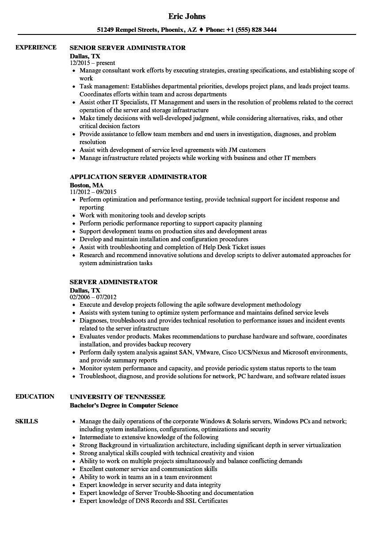 server administrator resume samples