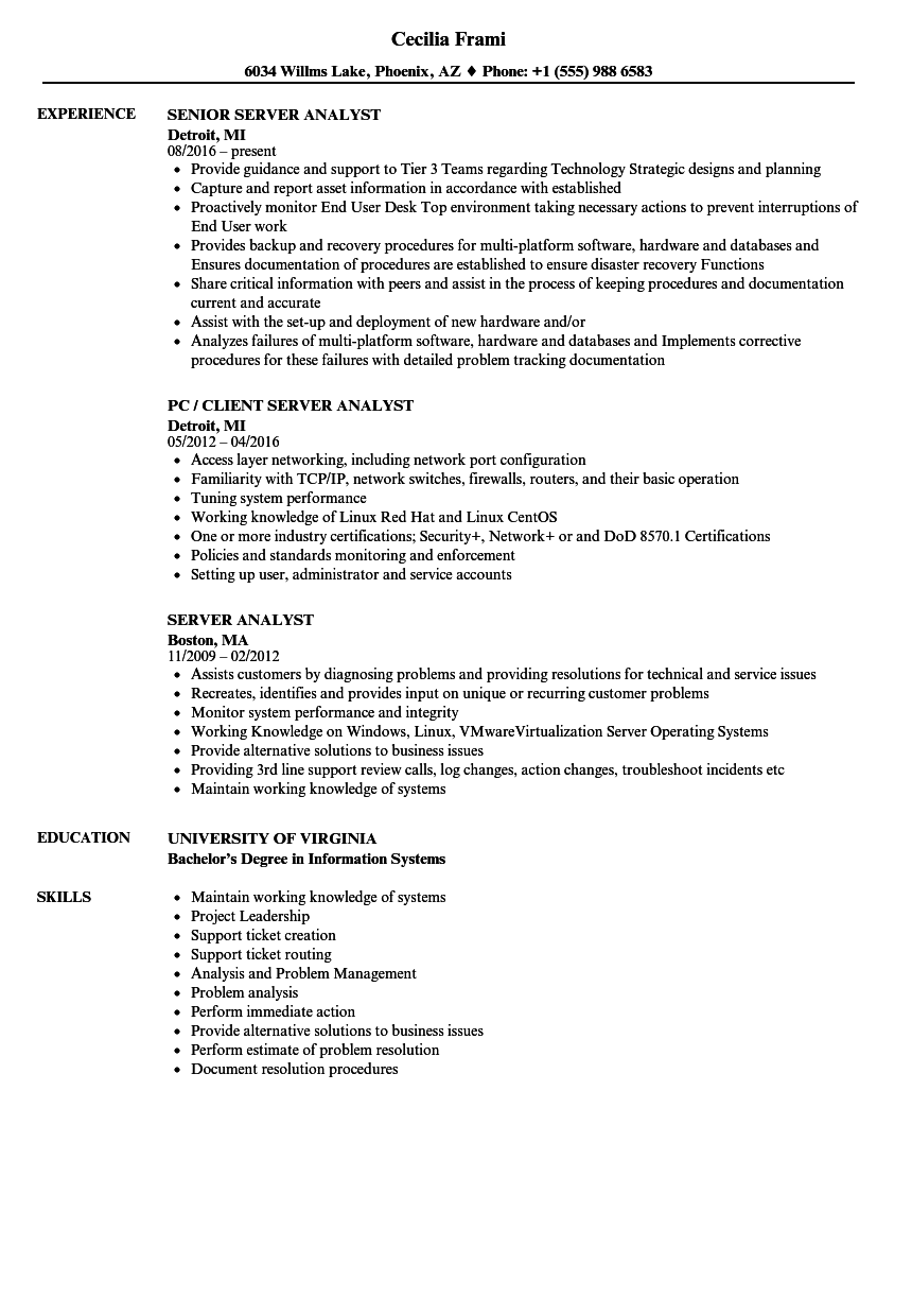 Server Analyst Resume Samples Velvet Jobs