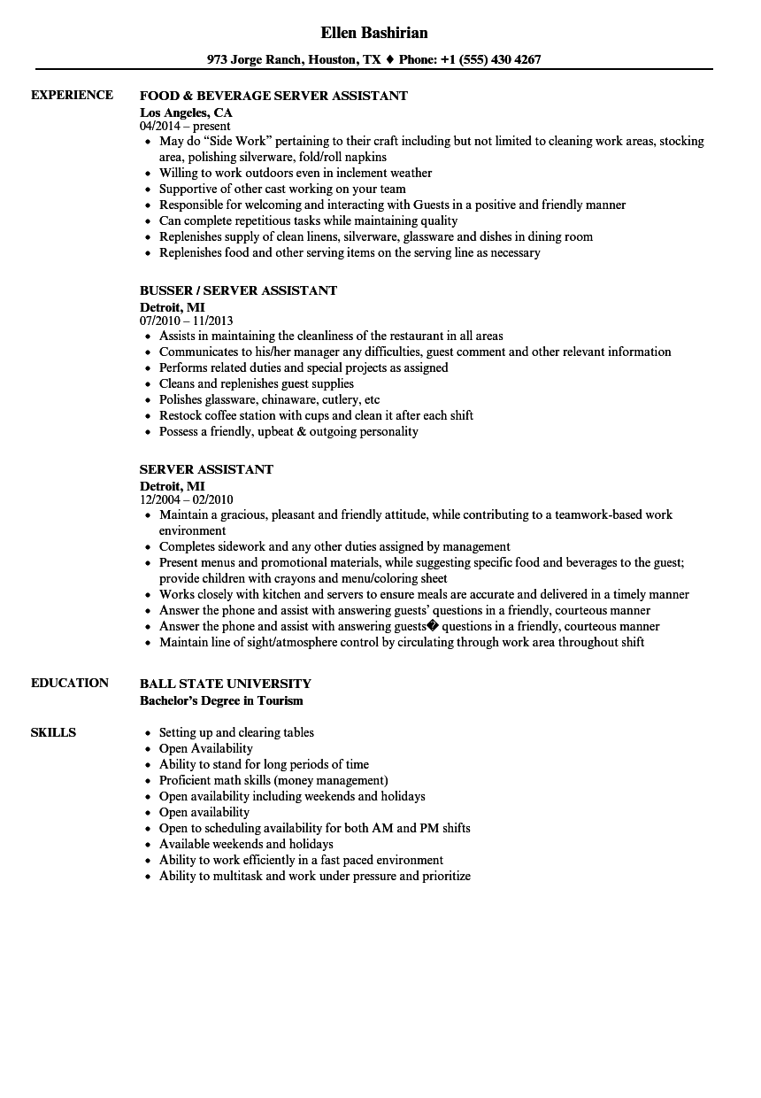 server assistant resume samples velvet jobs