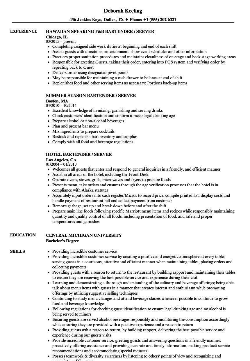 Server Bartender Resume Samples | Velvet Jobs