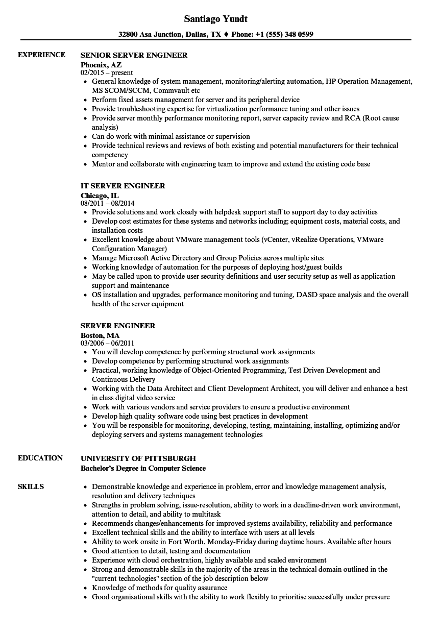 download server engineer resume sample as image file - Server Engineer Sample Resume