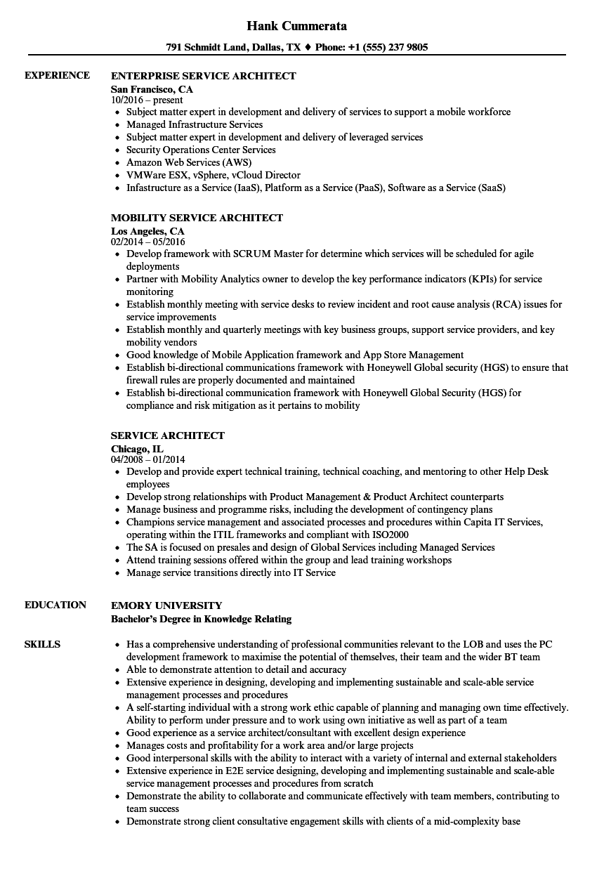 Service Architect Resume Samples | Velvet Jobs