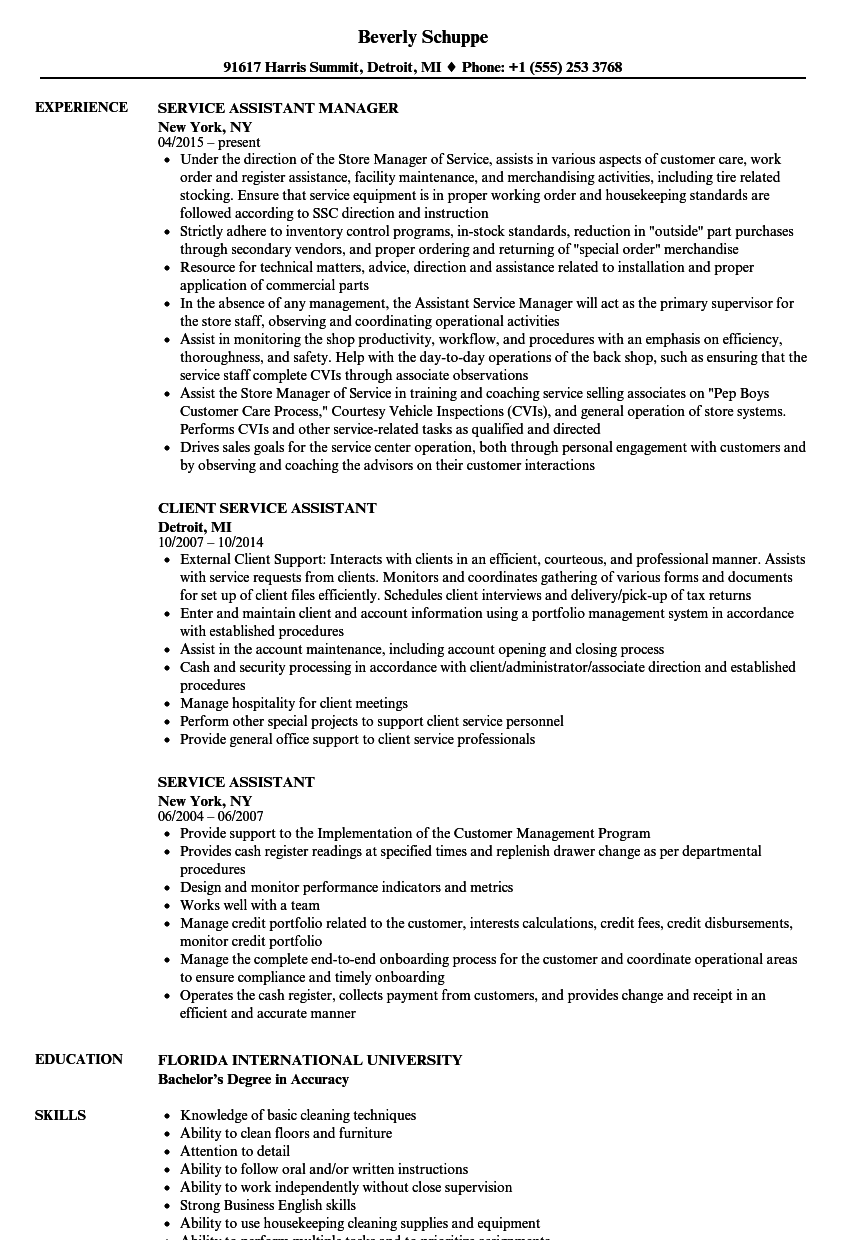 download service assistant resume sample as image file - Business English Resume Sample