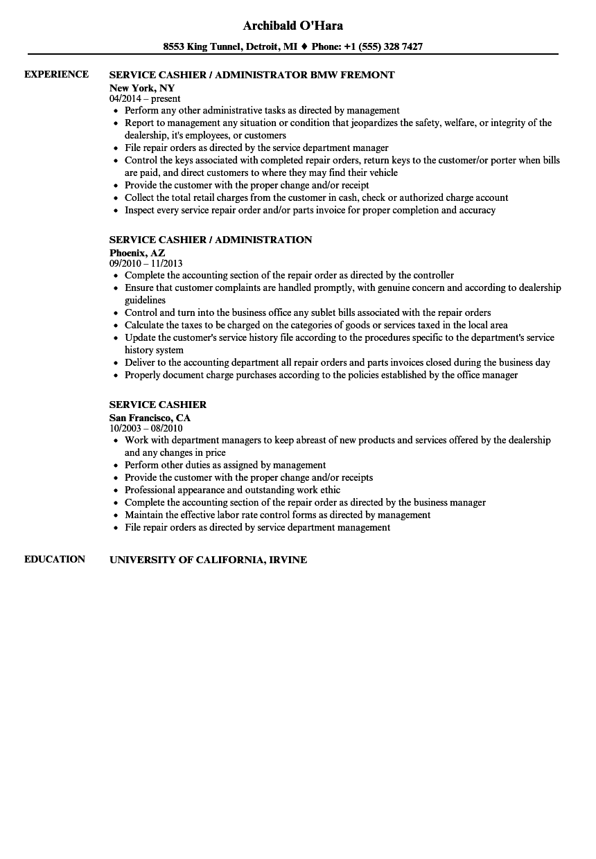Service Cashier Resume Samples Velvet Jobs