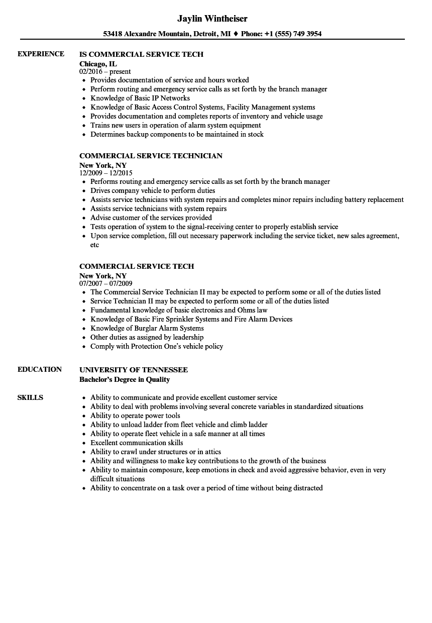 Download Service Commercial Resume Sample As Image File