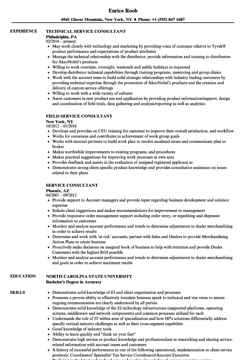 service consultant resume samples