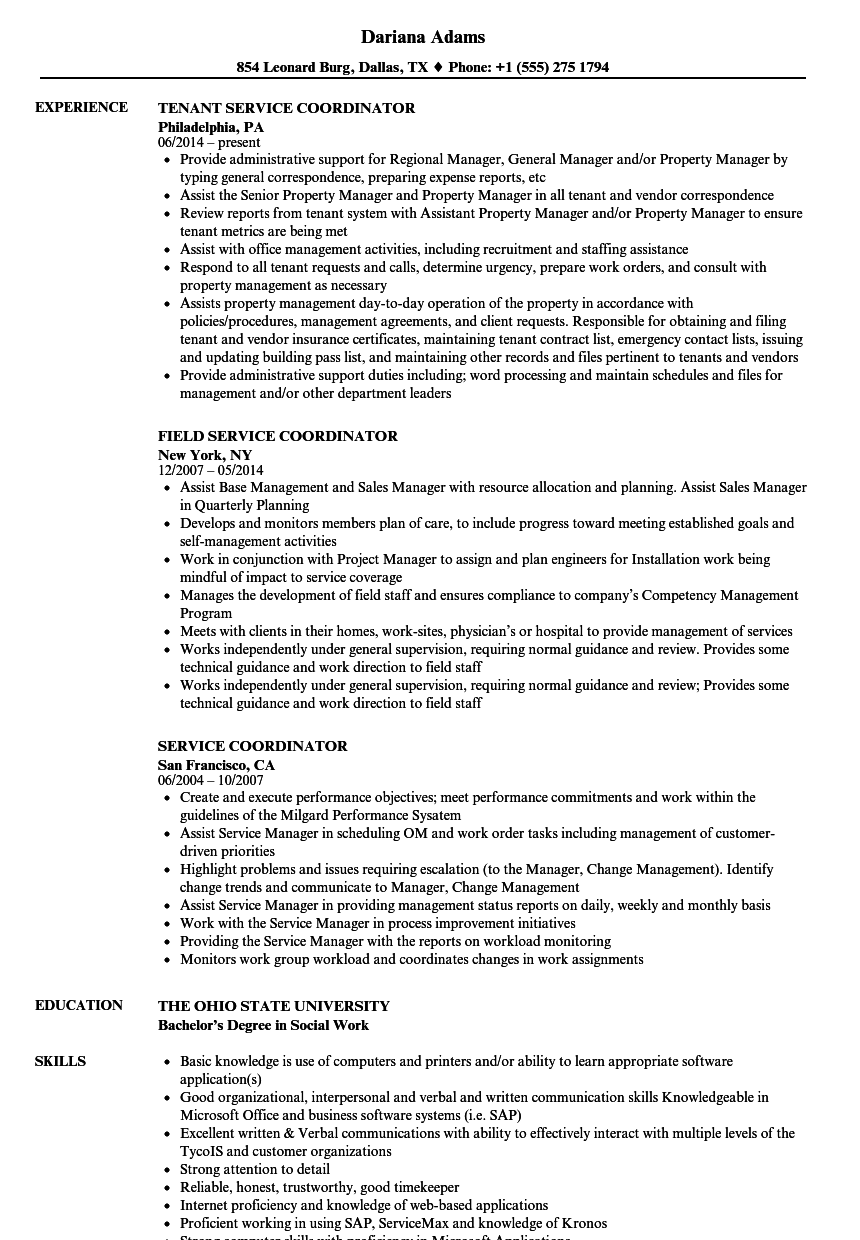 Service Coordinator Resume Samples | Velvet Jobs
