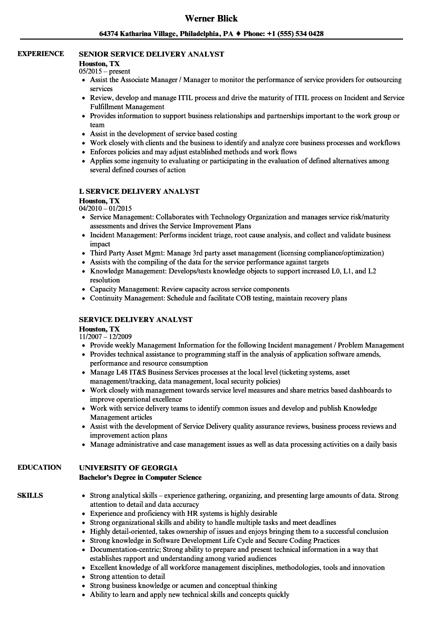 service delivery analyst resume samples