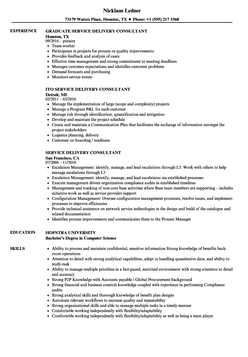 service delivery consultant resume samples
