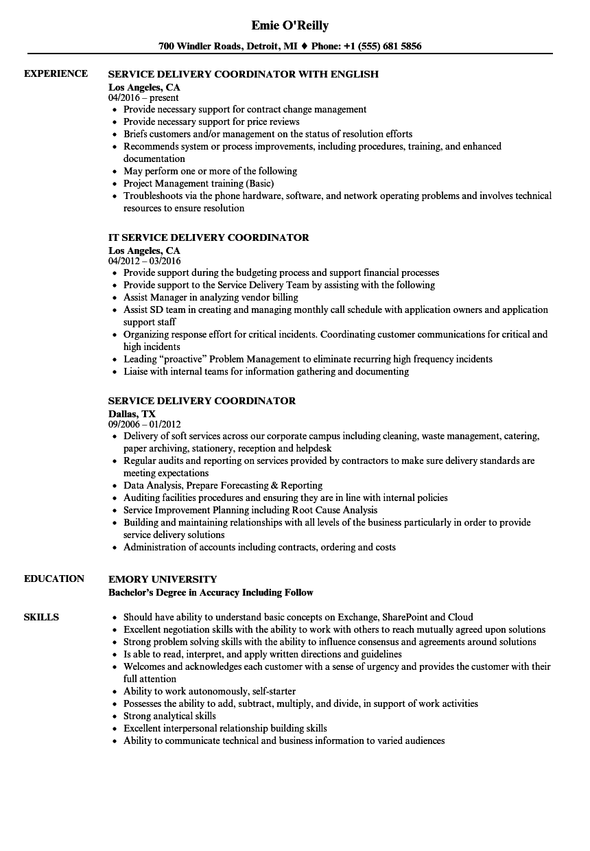 service delivery coordinator resume samples