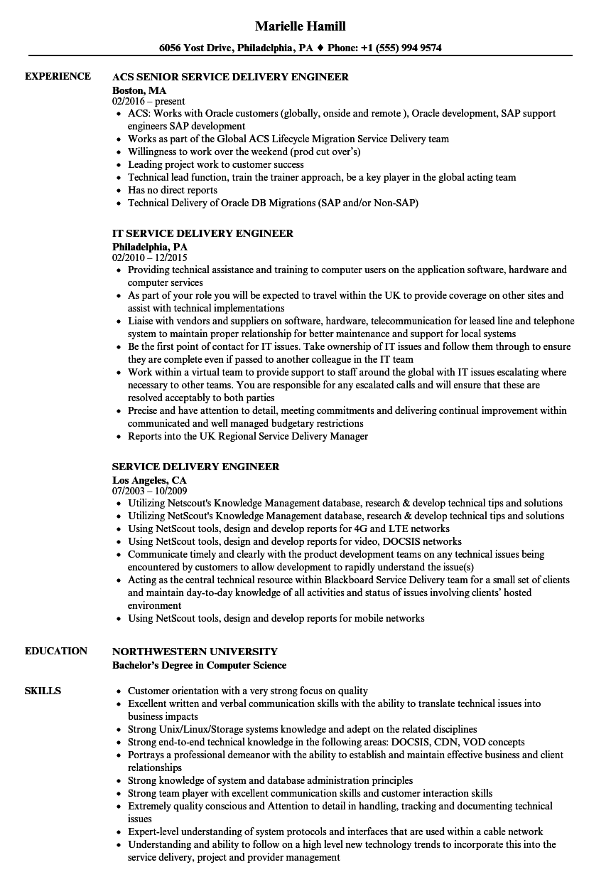 service delivery engineer resume samples