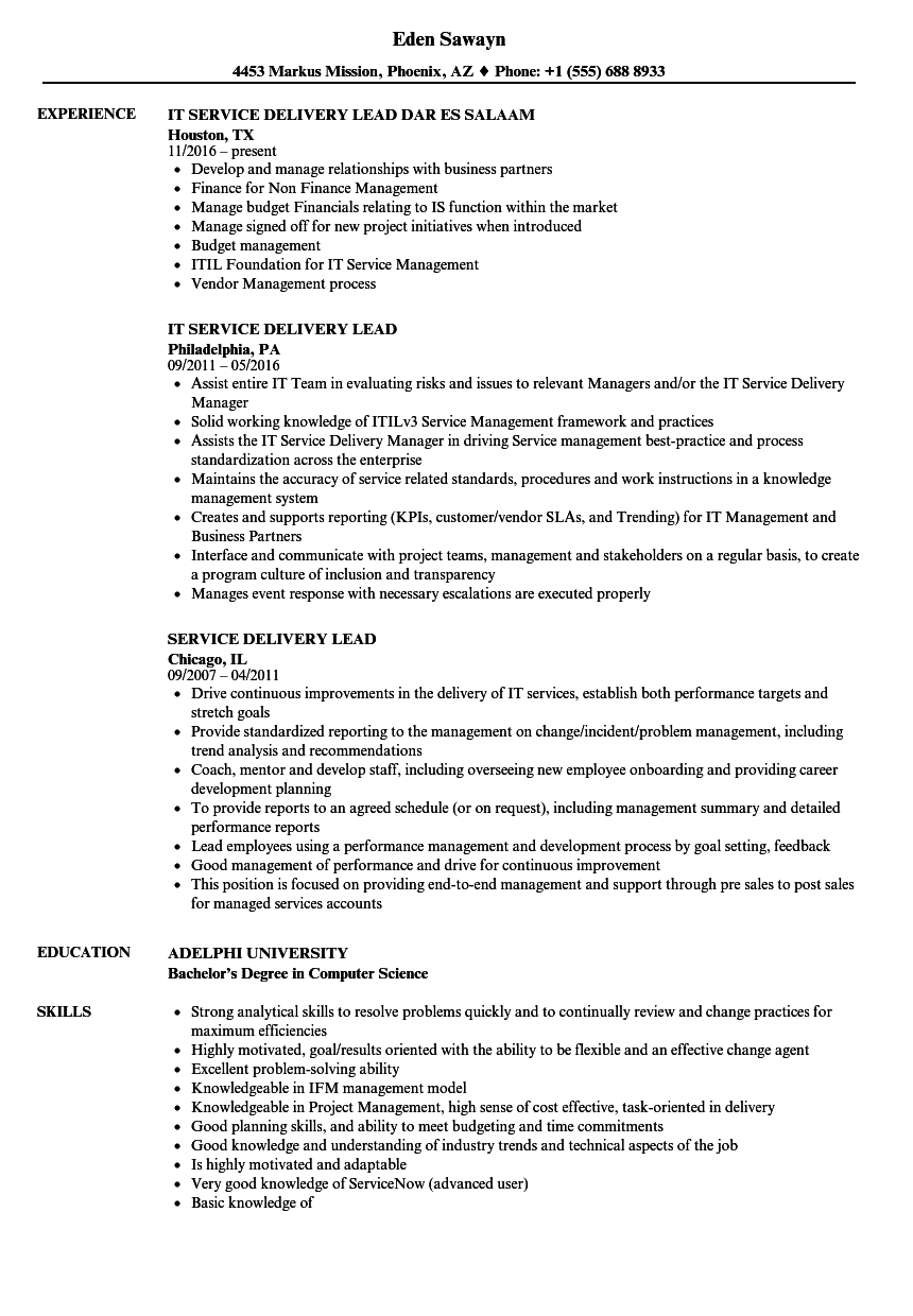 service delivery lead resume samples