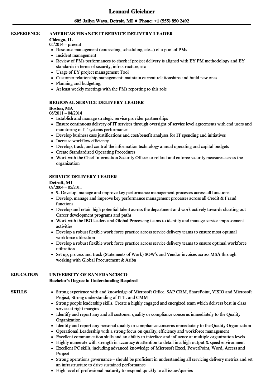 service delivery leader resume samples