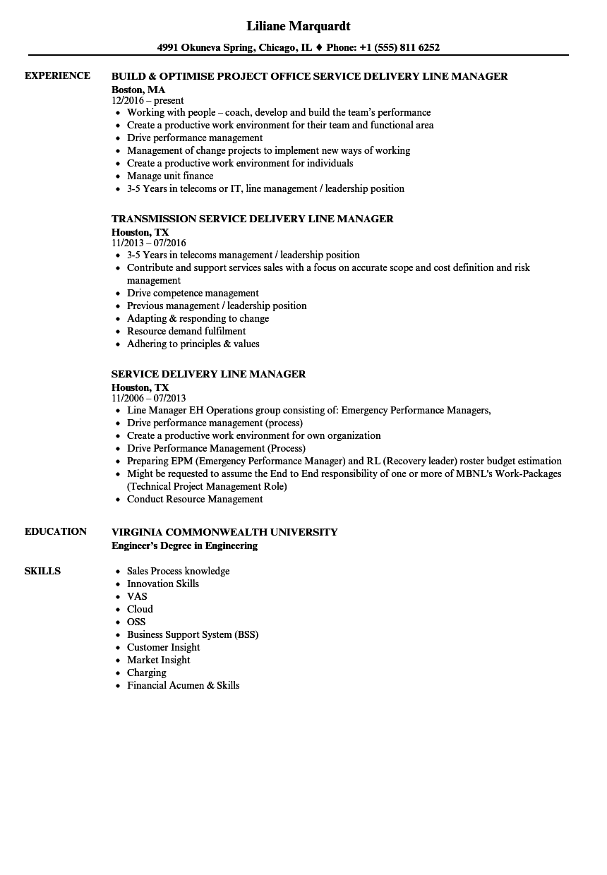 service delivery line manager resume samples