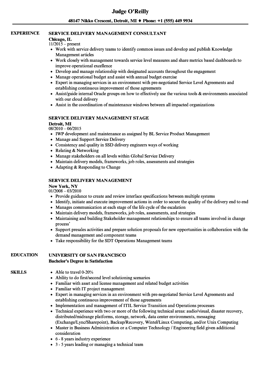 service delivery management resume samples