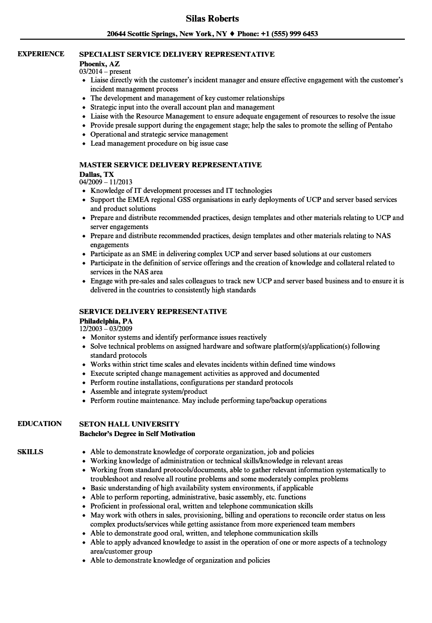 service delivery representative resume samples