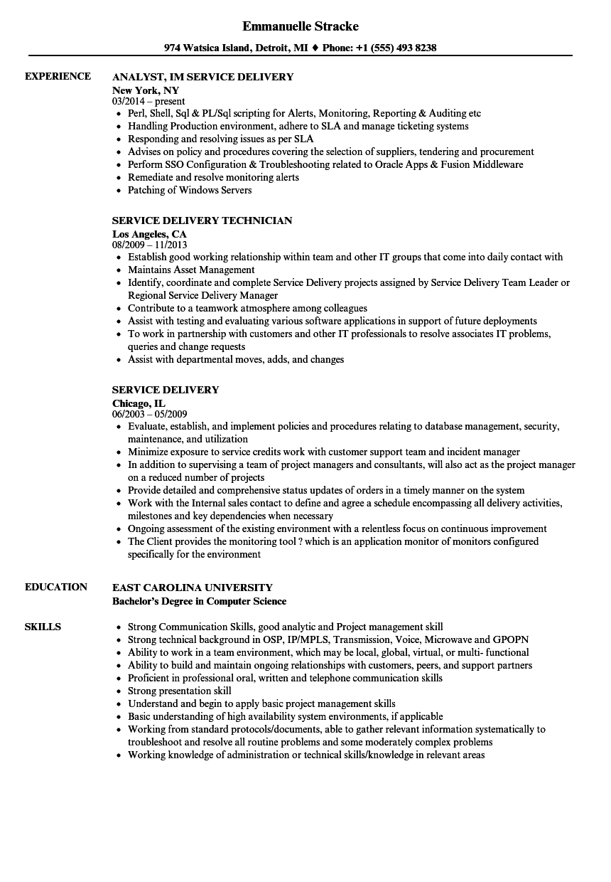 service delivery resume samples