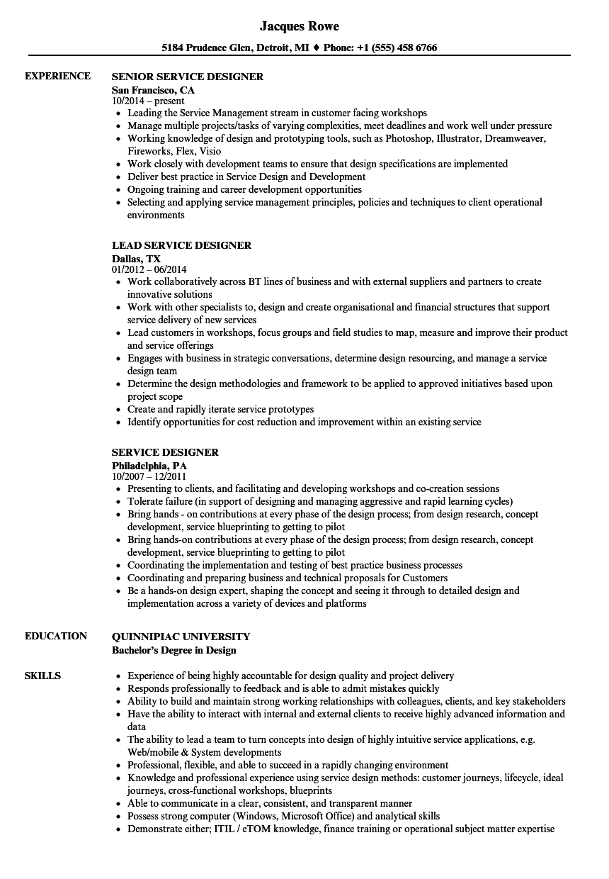 Service Designer Resume Samples | Velvet Jobs