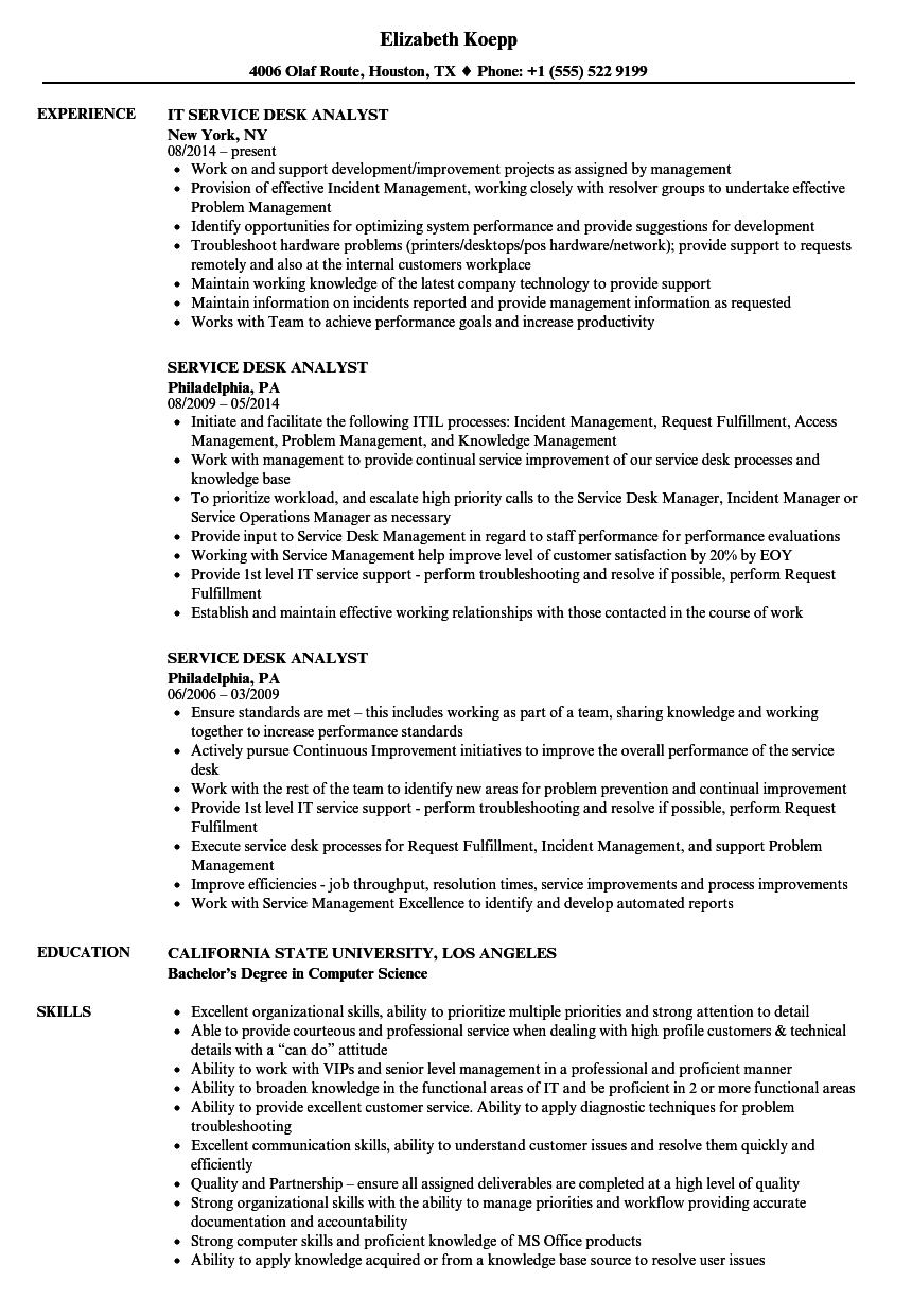 Service Desk Analyst Resume Samples Velvet Jobs