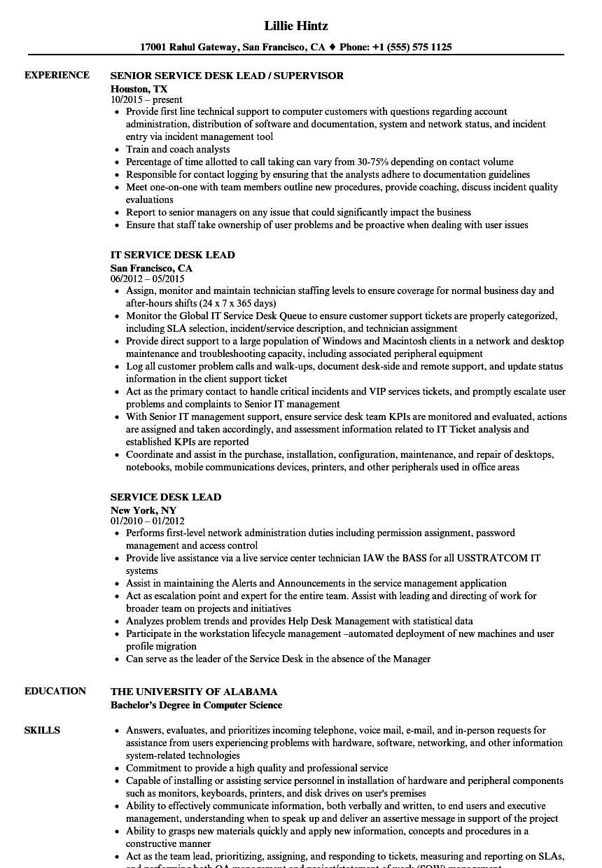 Service Desk Lead Resume Samples | Velvet Jobs