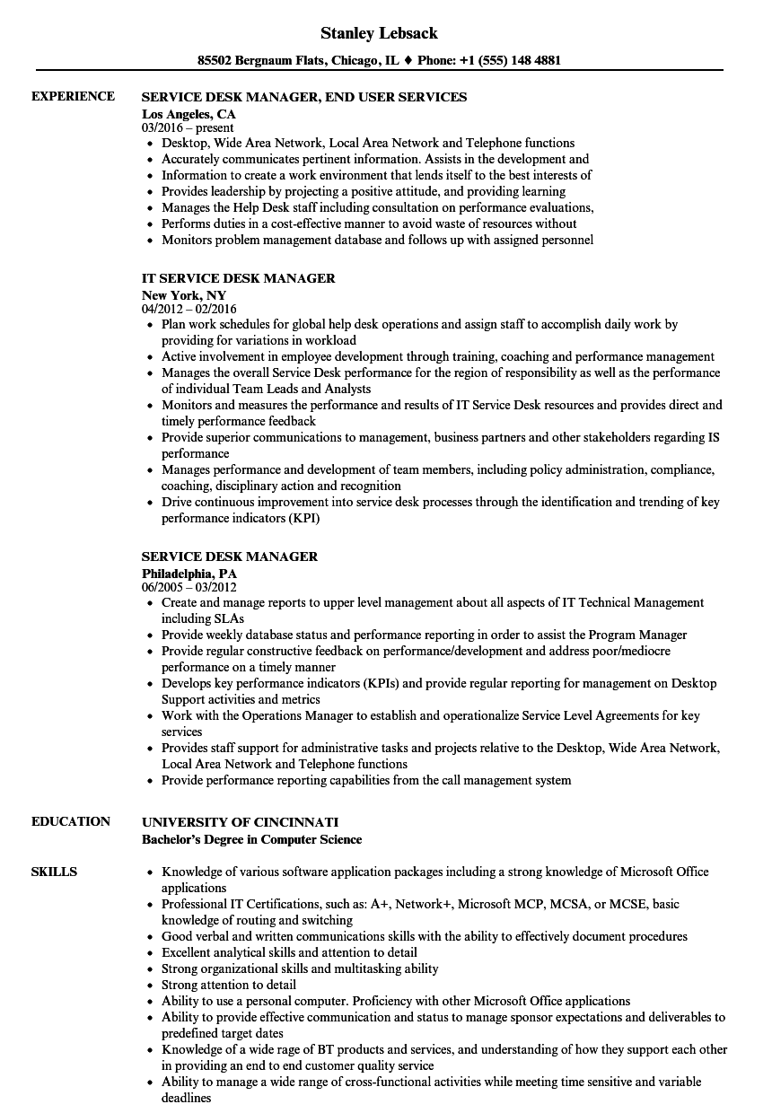 service desk manager resume samples