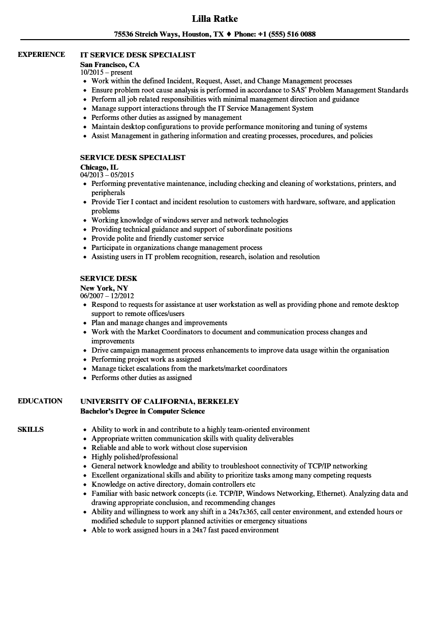 Service Desk Resume Samples | Velvet Jobs