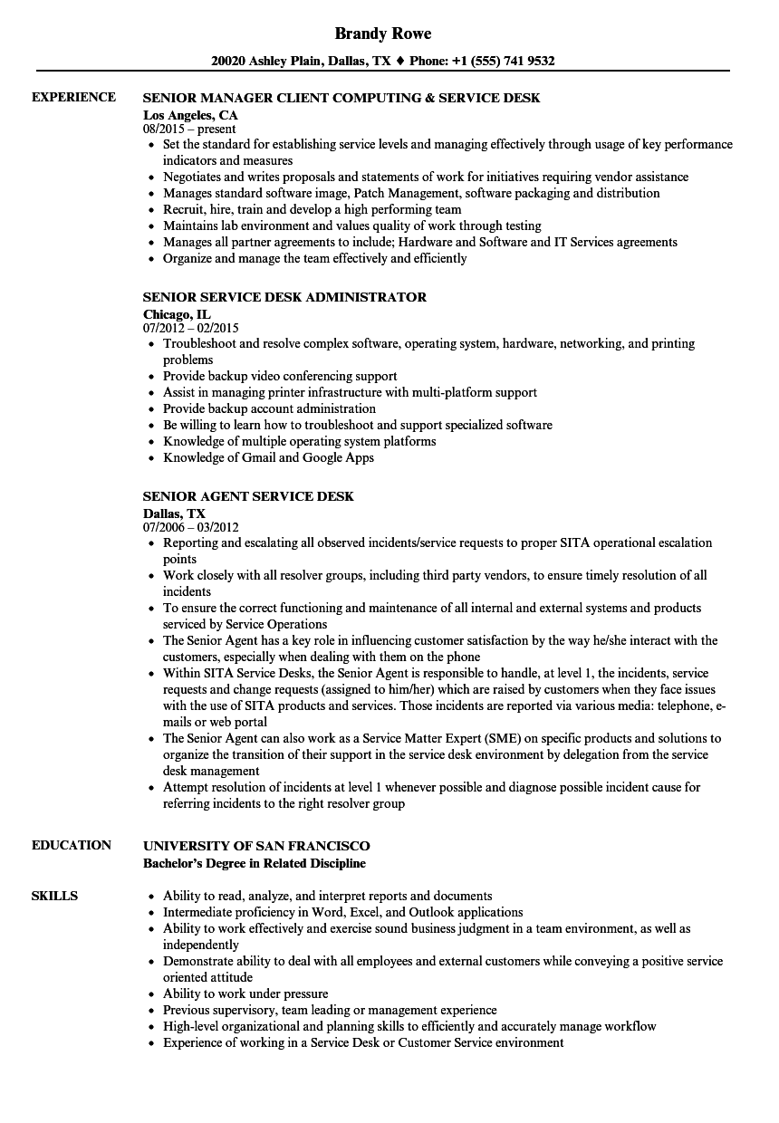 service desk  senior resume samples