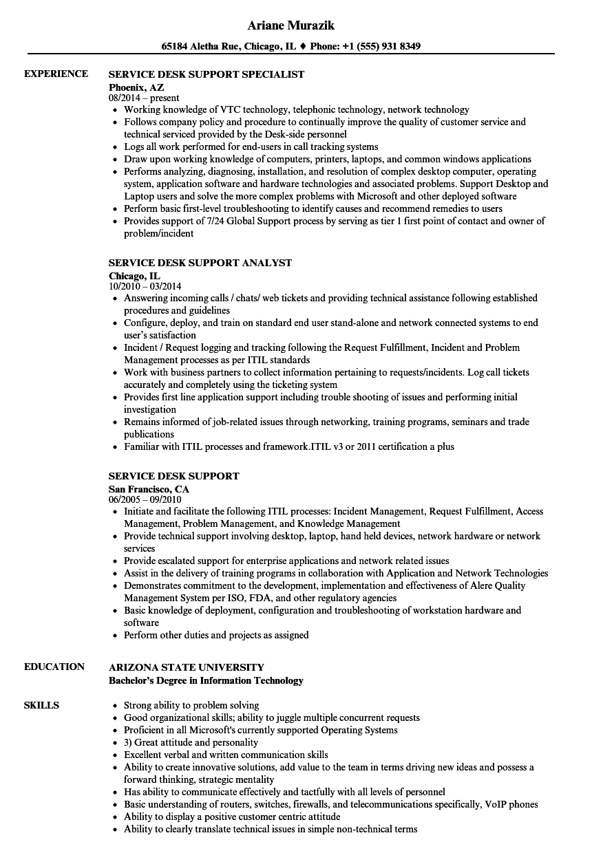 service desk support resume samples