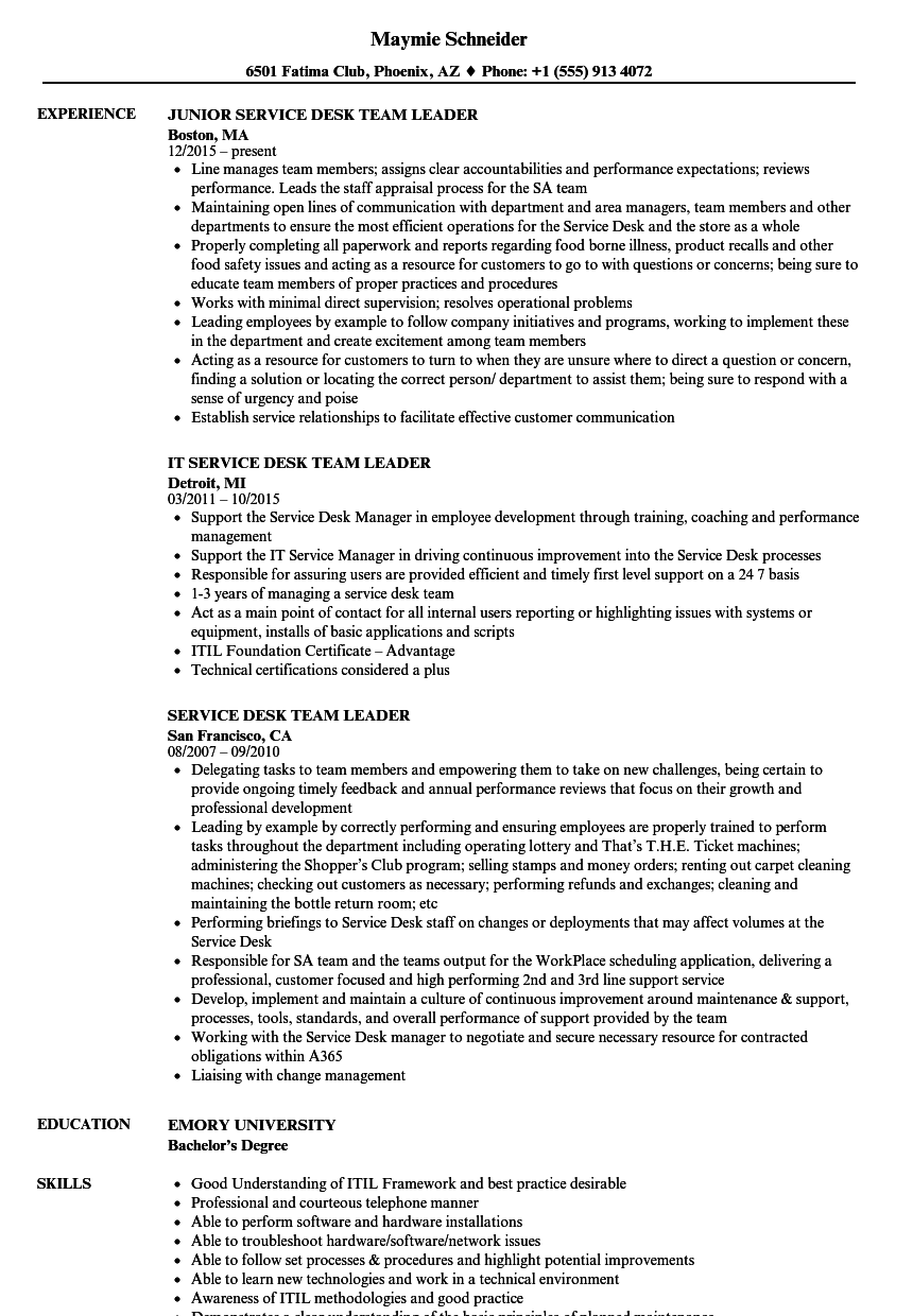 Service Desk Team Leader Resume Samples | Velvet Jobs