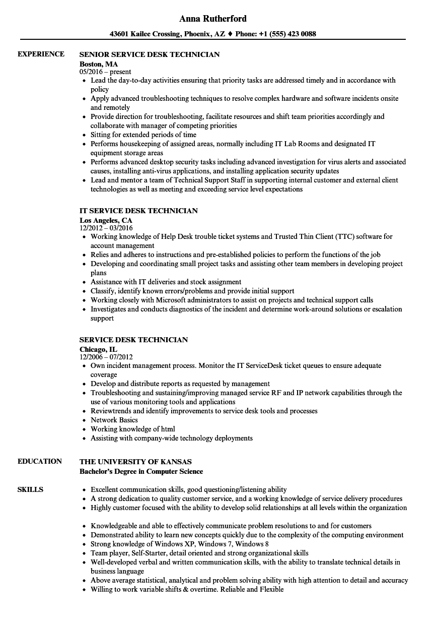 download service desk technician resume sample as image file - Help Desk Technician Resume