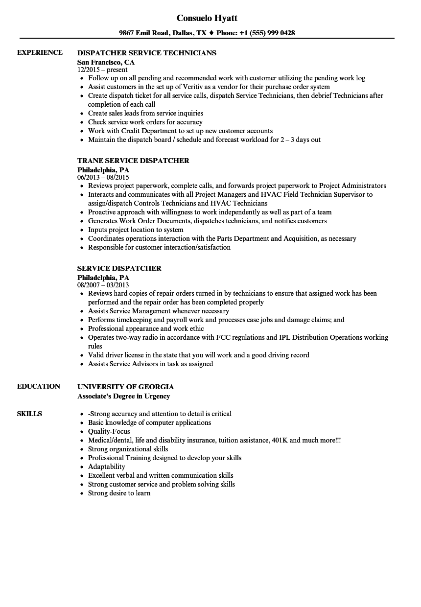 Service dispatcher resume samples velvet jobs for Transportation dispatcher resume examples
