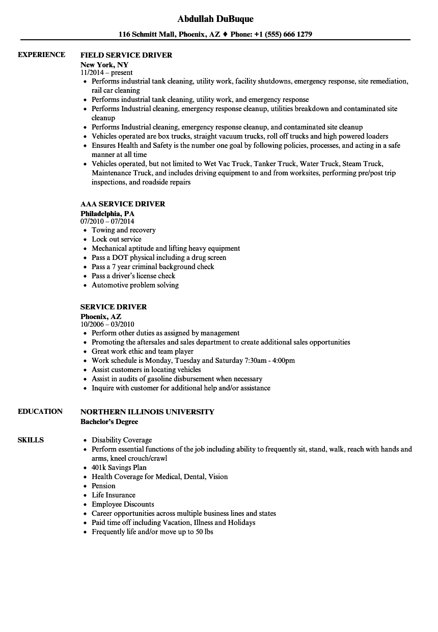 Service Driver Resume Samples | Velvet Jobs