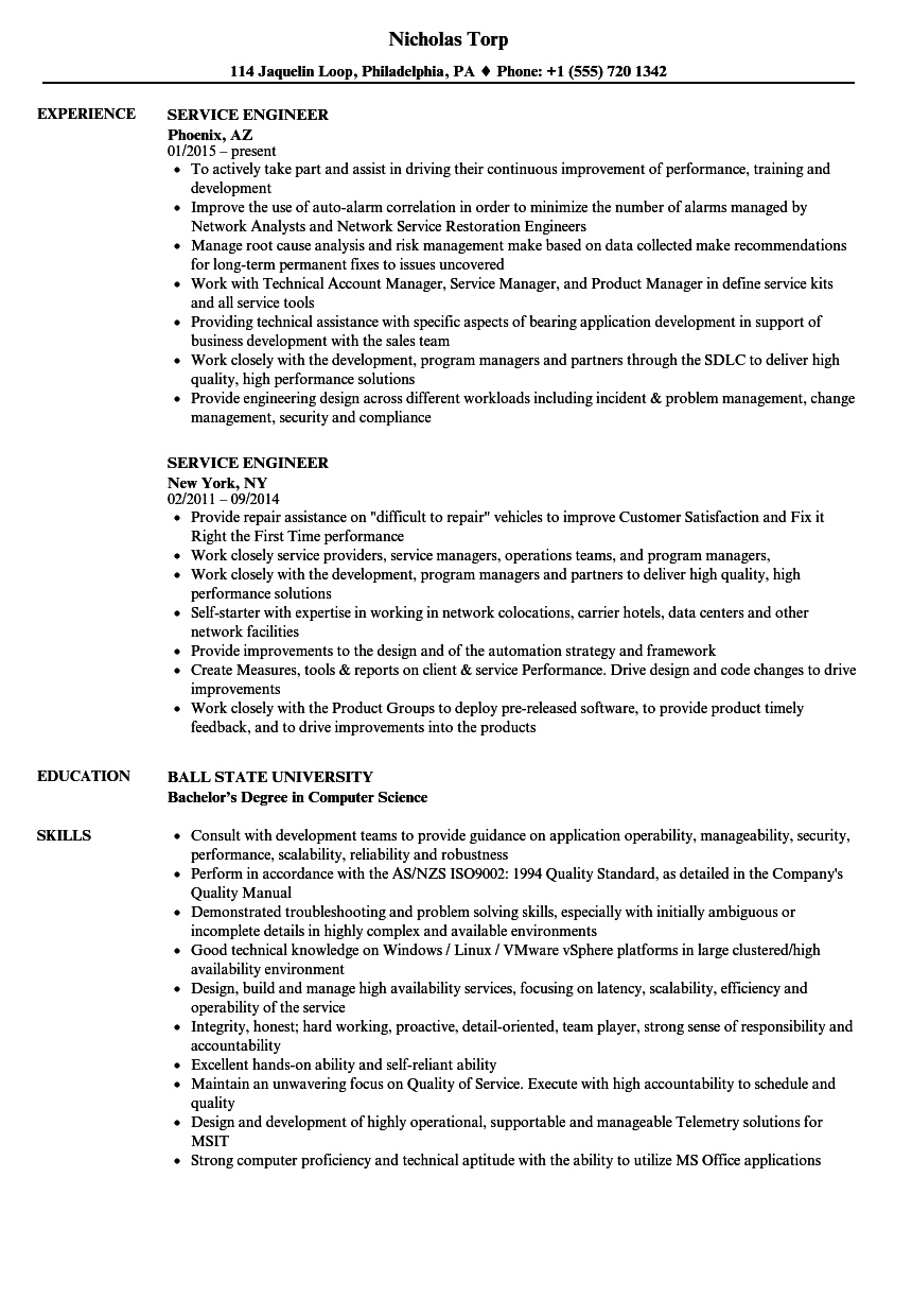 Cctv Service Engineer Resume Resume Templates Cctv