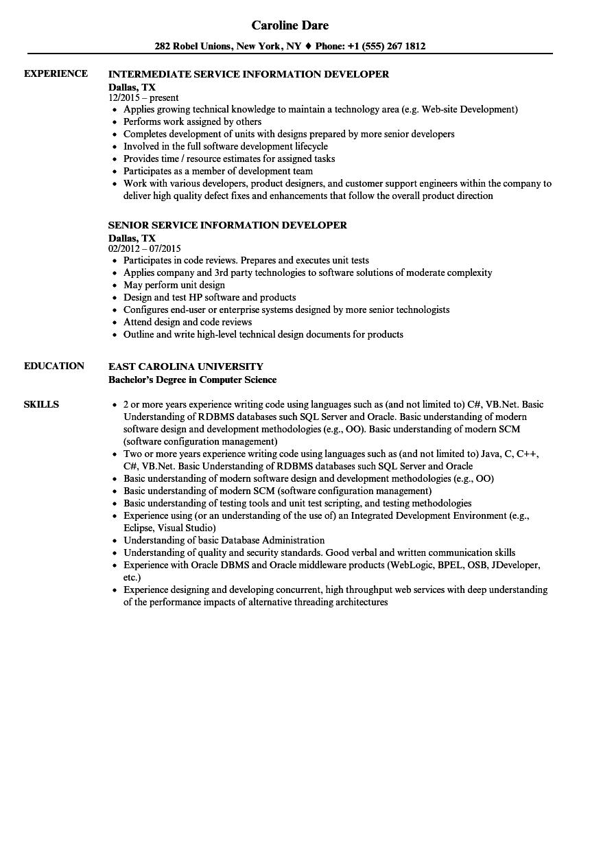 Service Information Developer Resume Samples Velvet Jobs