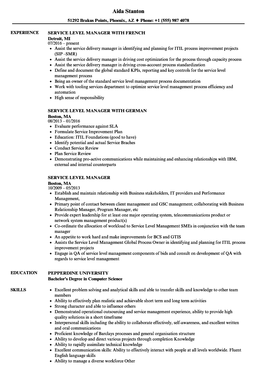 Service Level Manager Resume Samples | Velvet Jobs