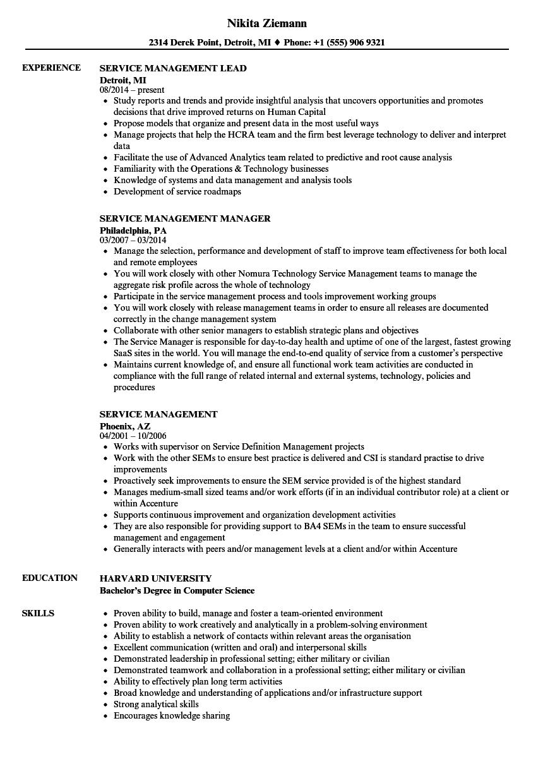 Service Management Resume Samples | Velvet Jobs