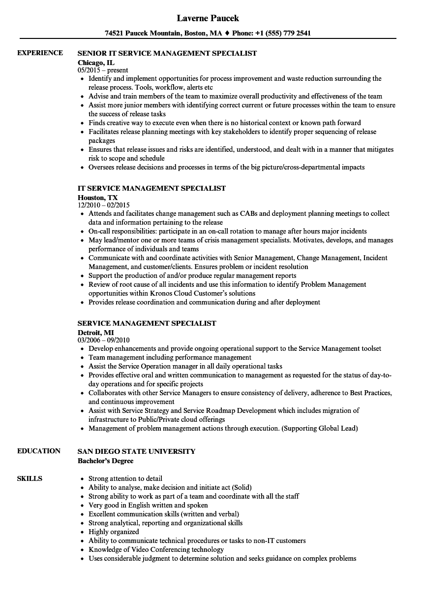 service management specialist resume samples