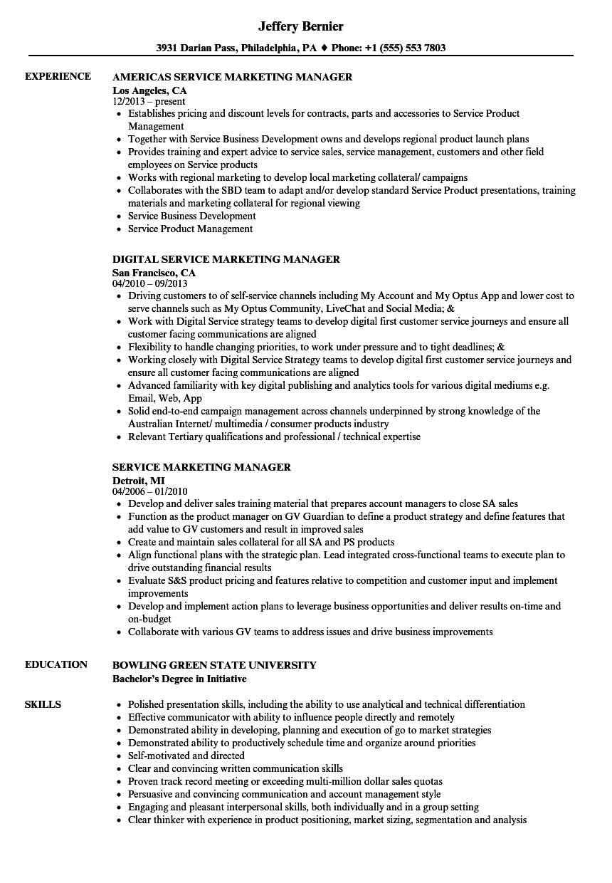 download service marketing manager resume sample as image file - Marketing Manager Resume Sample