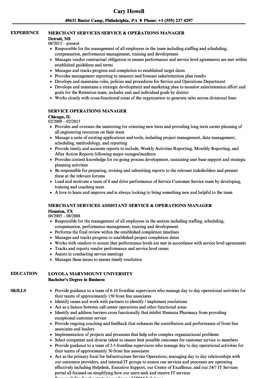 service operations manager resume samples