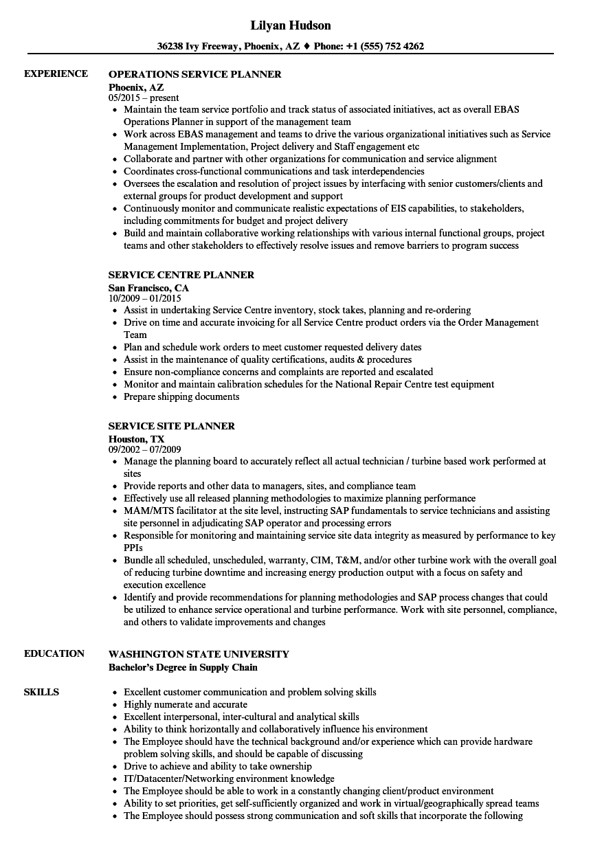service planner resume samples velvet jobs