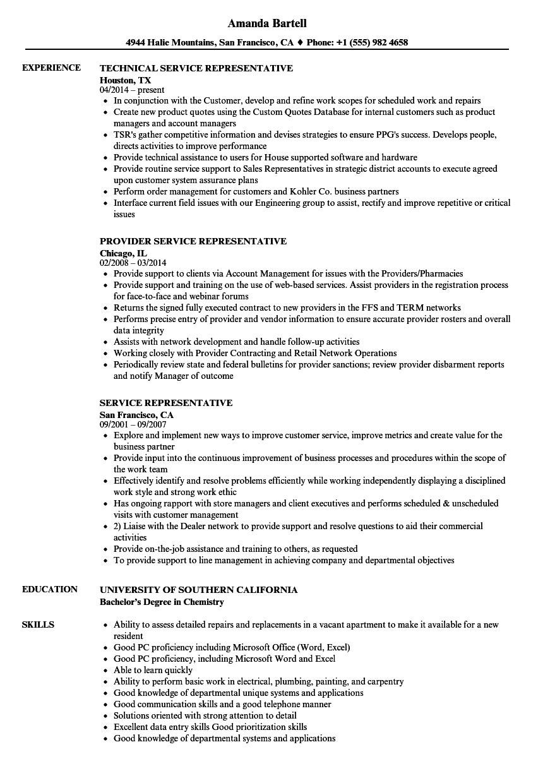 service representative resume samples