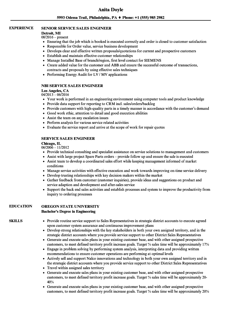 service sales engineer resume samples velvet jobs
