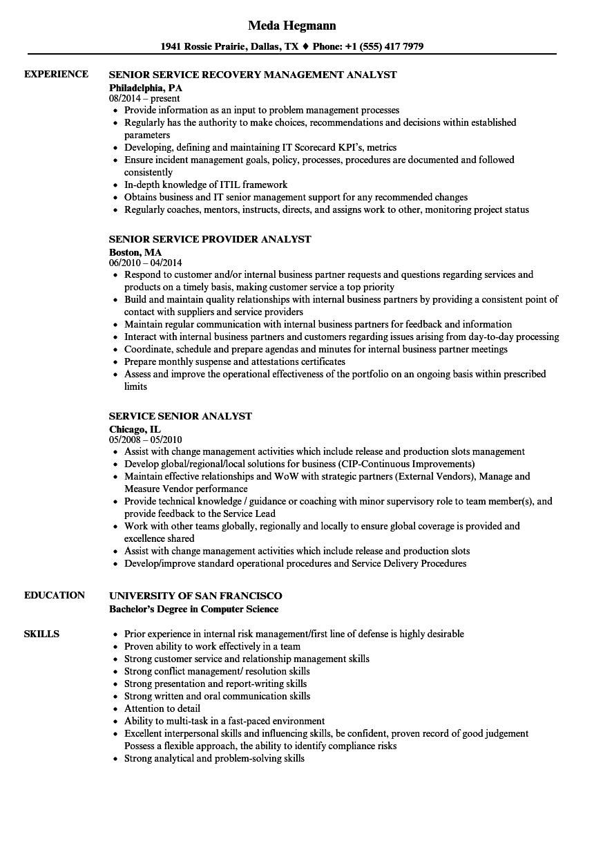 service senior analyst resume samples