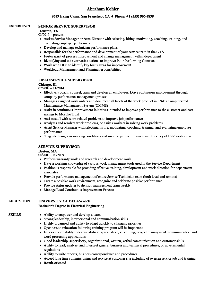 Customer Service Supervisor Resume Examples
