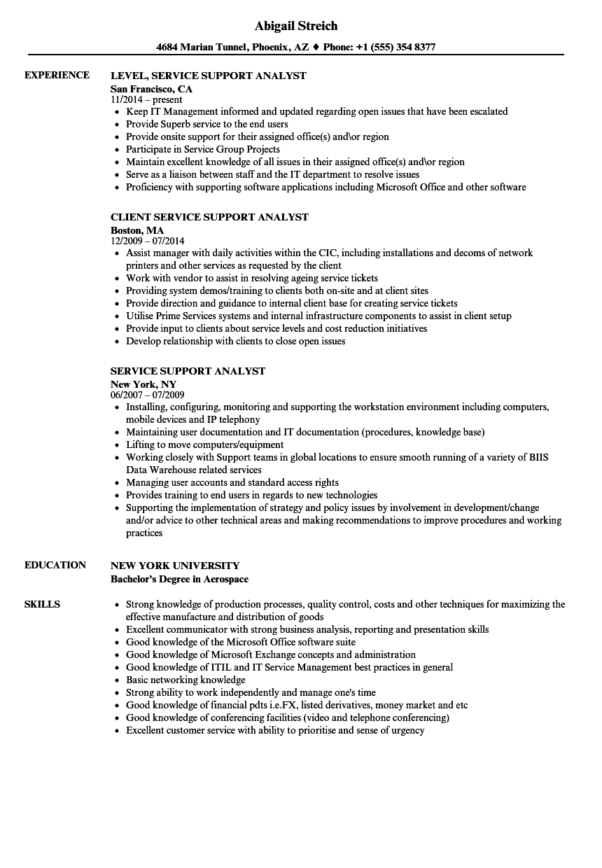 Download Service Support Analyst Resume Sample As Image File